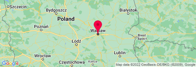 Map of Warsaw, Poland