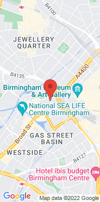 Map showing the location of the Birmingham Centre [Closed] monitoring site