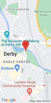 Map showing the location of the Derby St Alkmund's Way monitoring site