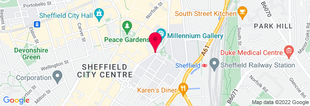 Map for O2 Academy 2 Sheffield