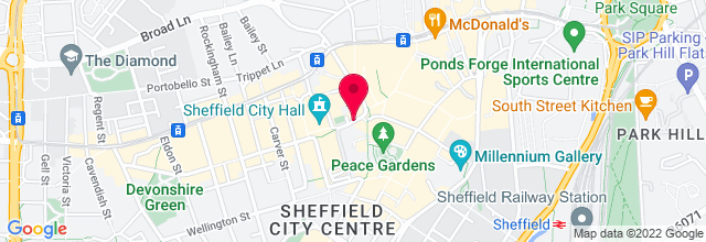 Map for Sheffield City Hall