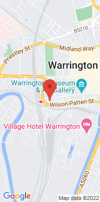 Map showing the location of the Warrington Parker St [Closed] monitoring site