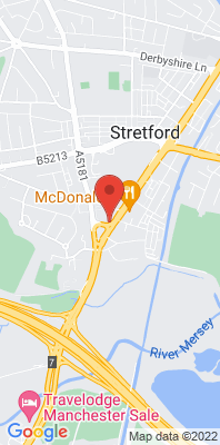 Map showing the location of the Trafford A56 monitoring site