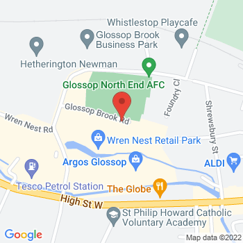 Halfords Glossop Location on map