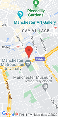 Map showing the location of the Manchester Oxford Road monitoring site