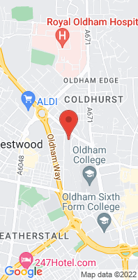 Map showing the location of the Oldham West End House [Closed] monitoring site