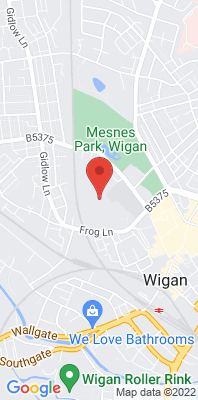 Map showing the location of the Wigan Centre monitoring site