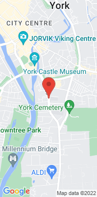 Map showing the location of the York Fishergate monitoring site