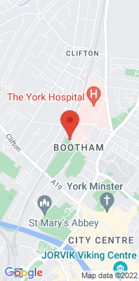 Map showing the location of the York Bootham monitoring site