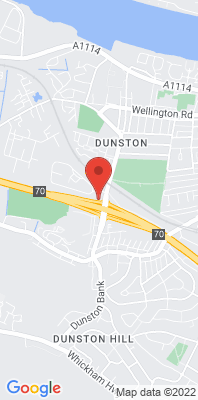 Map showing the location of the Gateshead A1 Dunston monitoring site
