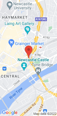 Map showing the location of the Newcastle Pilgrim Street monitoring site