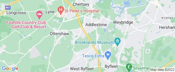 Location map for carpet fitter in Addlestone, Surrey, KT15