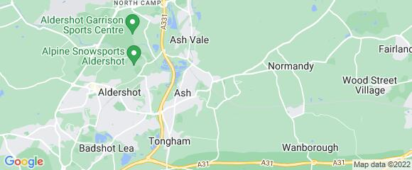 Location map for carpet fitter in Aldershot, Surrey, GU12