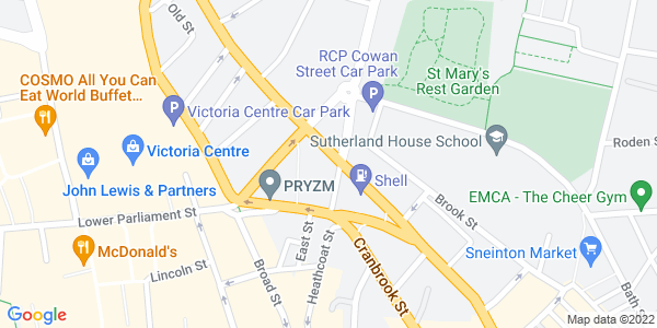 Static map of Antenna Media Centre Beck Street NOTTINGHAM NG1 1EQ, provided by Google