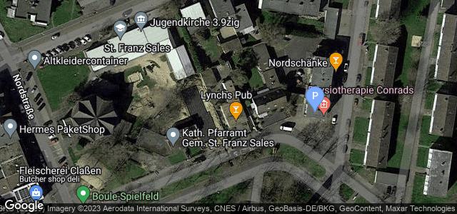 Lageplan der Physiotherapie Conrads, Ecke Artilleriestraße|Robert-Koch-Straße 1 bis 3 in der Nähe der Pfarrkirche Sankt Franz-Sales, Irish Pub und Nordschänke im Nordviertel von Jülich