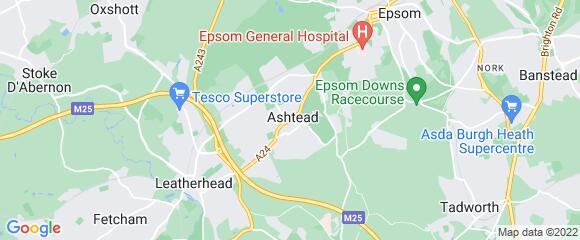 Location map for carpet fitter in Ashtead, Surrey, KT21