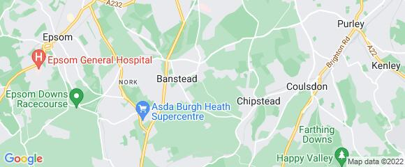 Location map for carpet fitter in Banstead, Surrey, SM7