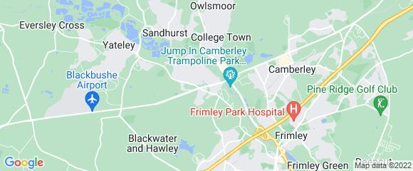 Location map for carpet fitter in Blackwater, Berkshire, GU17