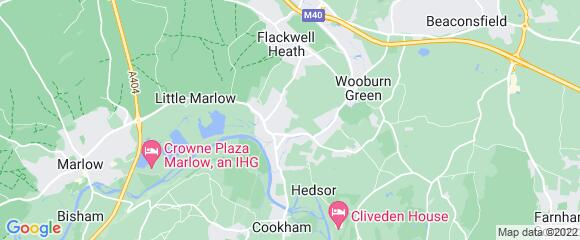 Location map for carpet fitter in Bourne End, Berkshire, SL8