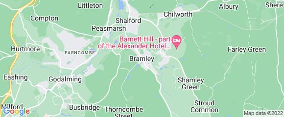Location map for carpet fitter in Bramley, Surrey, GU5