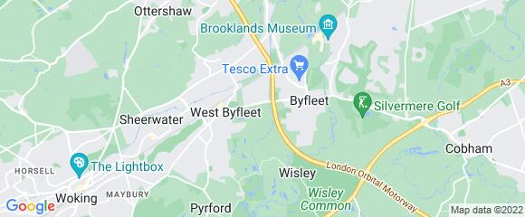 Location map for carpet fitter in Byfleet, Surrey, KT14