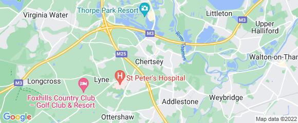 Location map for carpet fitter in Chertsey, Surrey, KT16