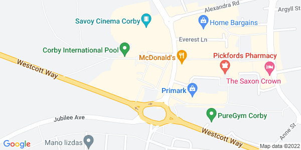 Static map of Corby Cube Theatre CORBY Northamptonshire NN17 1QG, provided by Google