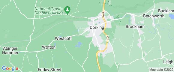 Location map for carpet fitter in Dorking, Surrey, RH4