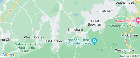Location map for carpet fitter in East Horsley, Surrey, KT24
