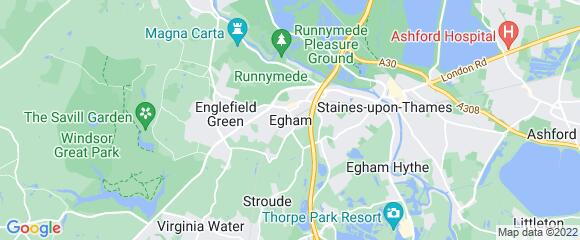 Location map for carpet fitter in Egham, Surrey, TW20
