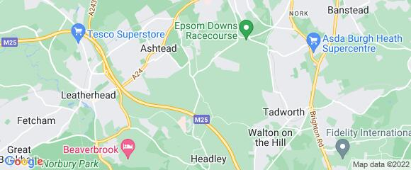 Location map for carpet fitter in Epsom, Surrey, KT18