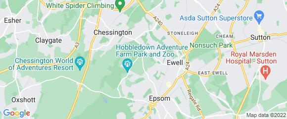 Location map for carpet fitter in Epsom, Surrey, KT19