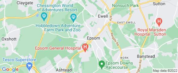 Location map for carpet fitter in Epsom and Ewell, Surrey