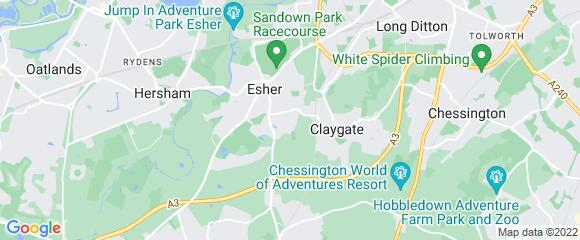 Location map for carpet fitter in Esher, Surrey, KT10