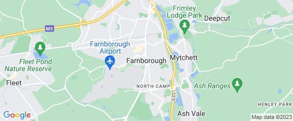 Location map for carpet fitter in Farnborough, Surrey, GU14