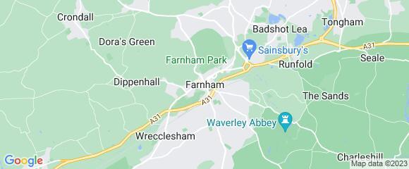 Location map for carpet fitter in Farnham, Surrey, GU10
