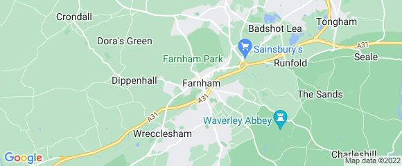 Location map for carpet fitter in Farnham, Surrey, GU13