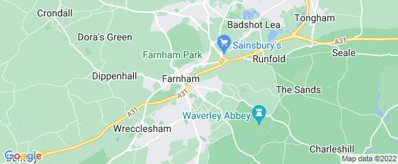 Location map for carpet fitter in Farnham, Surrey, GU9
