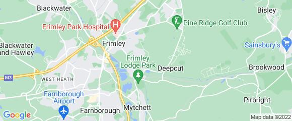 Location map for carpet fitter in Frimley, Surrey, GU16