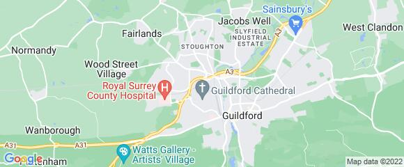 Location map for carpet fitter in Guildford, Surrey, GU2