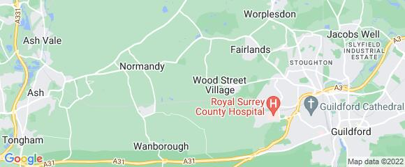 Location map for carpet fitter in Guildford, Surrey, GU3