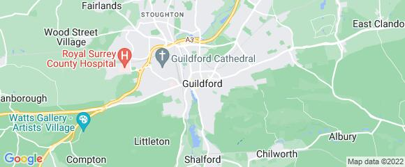 Location map for carpet fitter in Guildford, Surrey