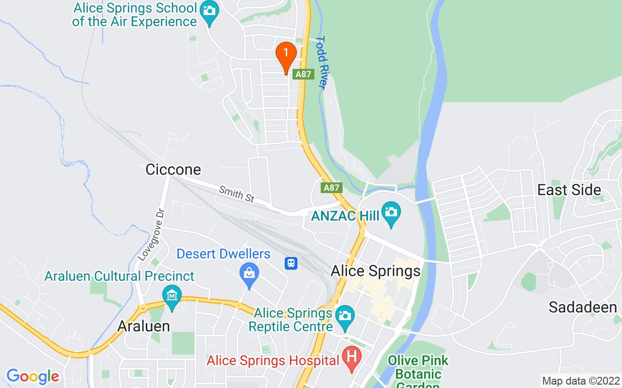 Map of Alice Springs with Vatu location