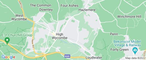 Location map for carpet fitter in High Wycombe, Berkshire, HP13