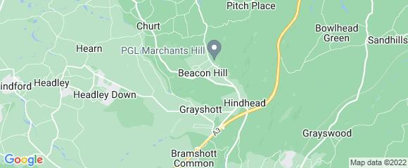 Location map for carpet fitter in Hindhead, Surrey, GU26