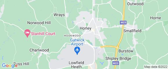 Location map for carpet fitter in Horley, Surrey, RH6