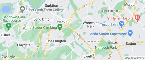 Location map for carpet fitter in Kingston, Surrey, KT9