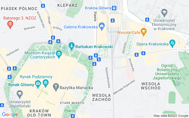 Show map of Krakow
