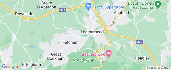Location map for carpet fitter in Leatherhead, Surrey, KT22