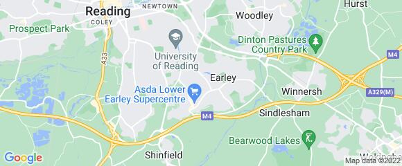 Location map for carpet fitter in Lower Earley, Berkshire, RG6